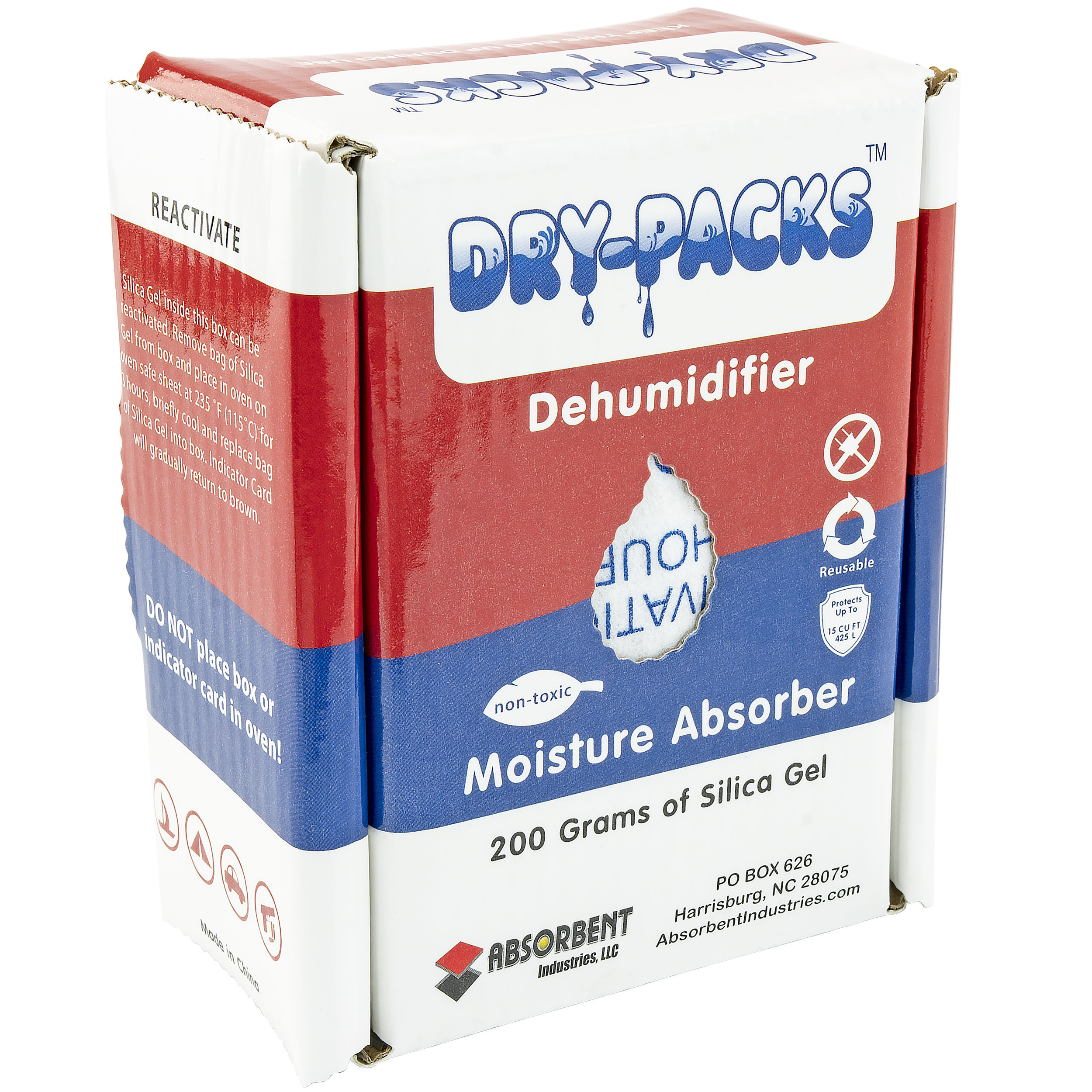 200 Gram Silica Gel Dehumidifying Box by Dry-Packs - Protects 15 Cubic Feet